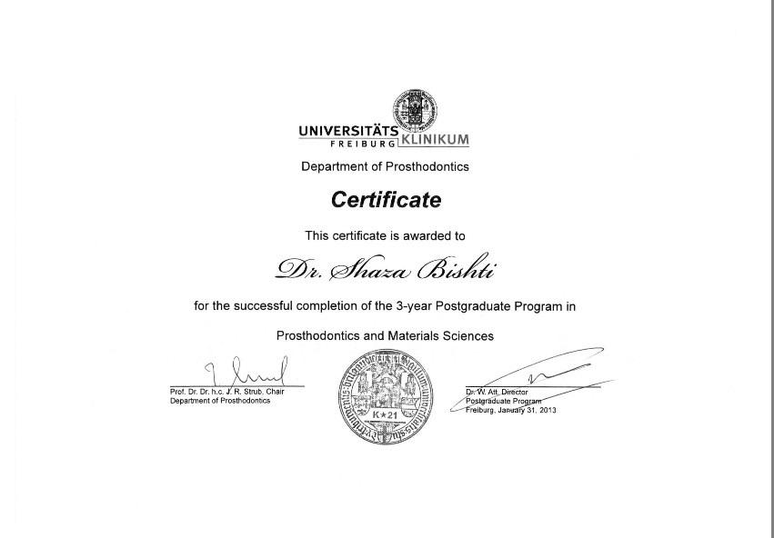 شهادة التخرج للدكتورة شذى البشتي